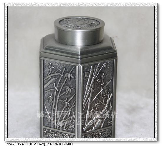 Manufacturers selling 100% Genuine Unique russia pewter crafts tin tea caddy Large bambinos(China (Mainland))