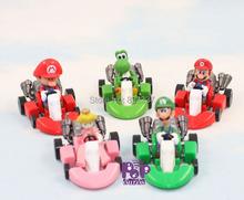 5x Classic Game Super Mario Bros Action Figures Kart PULL BACK Cars Mario/Luigi/Yoshi/Peach Toys For Children Gift