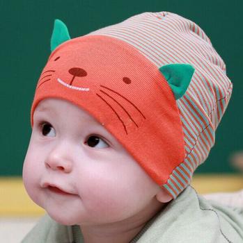 1 х новых мягкая каваи хлопка кошка полоса шапочки мальчики девочки шляпу младенческой ...