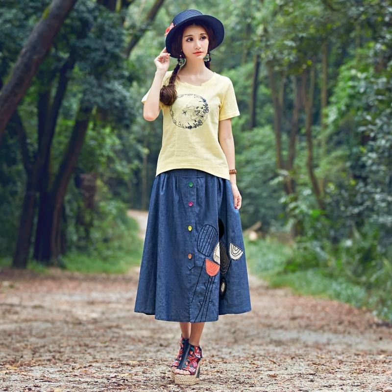 2015 Summer National wind Literary style New pattern Ladies Cowboy Patch Embroidery Skirt Multicolor Mu Kou Big swing skirt(China (Mainland))