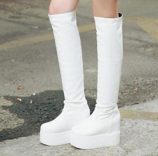 fashion simple platform wedges high boots 2015