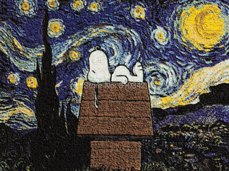 Free shipping beautiful oil painting canvas art the Starry Night of Van Gogh(China (Mainland))