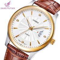 WEIDE watch quartz woman genuine leather straps calendar rose gold watches Japan movement wristwatch dropship