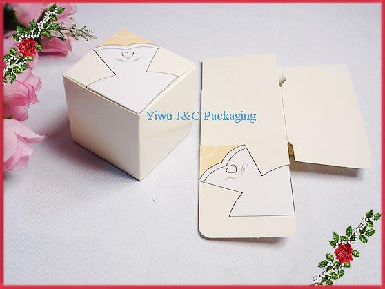 Free shipping square wedding bridal dress candy favor box for Wedding dress shipping box