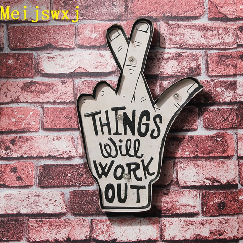 Meijswxj 2017 LED Neon Sign Vintage Lightbox Home Decor Restaurant Bar Cafe Wall Road sign Signage Shabby chic Placas decorativa(China (Mainland))