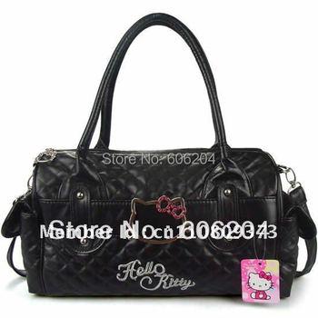 Promotion 2015 Hot Sale Hello kitty Cartoon Handbag Women Fashion Shoulder bag PU Leather black shoulder bag Female Leisure bags