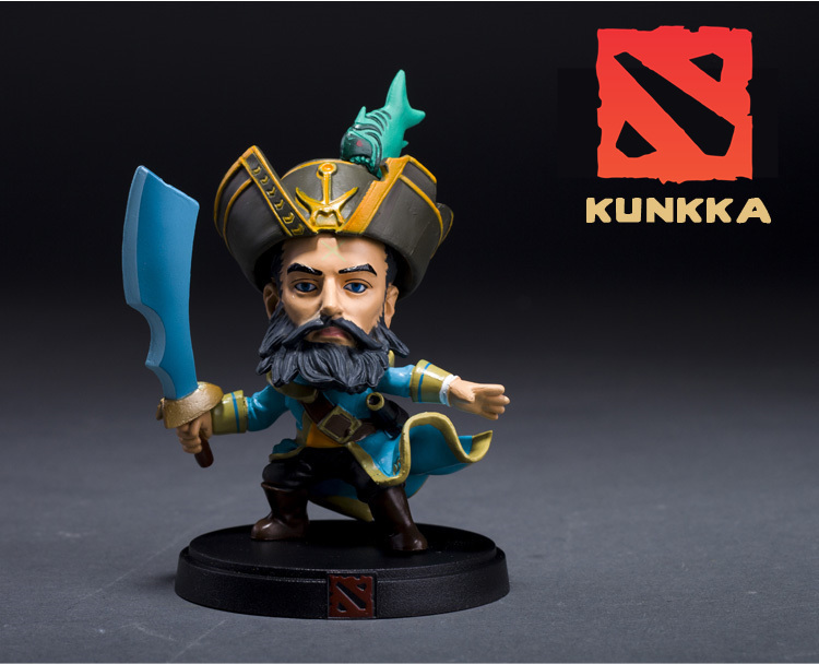 2015 New DOTA 2 All Star Game 3D Cute Captain Kunka WOW Warcraft Handmade Game Collection Mini Q Model Action Figures 10cm(China (Mainland))