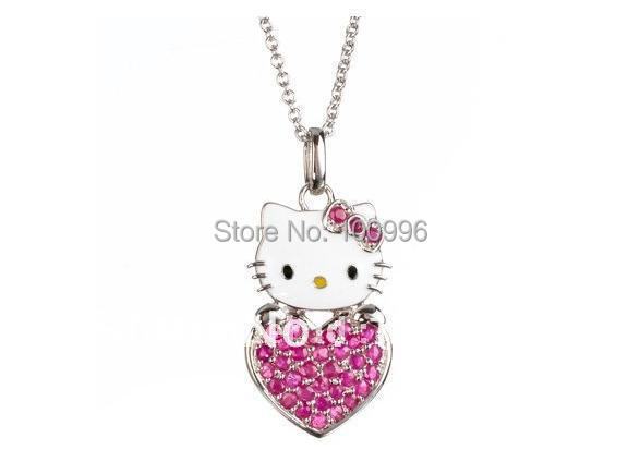 New Design Heart Pendants Necklaces Pink /Red /Purple Hello Kitty Necklace Cheap Women Accessories Jewelry Gift For Girls(China (Mainland))
