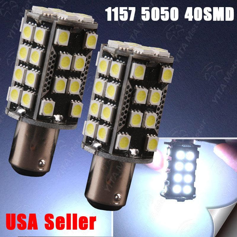 Free Shipping 2pcs 1157 BAY15D led Light Bulb 40smd 5050 7528 2057 2357 12V Xenon White Light Lights Lamps for Car Automotivo -A(China (Mainland))