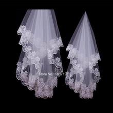 Hot accesorios venta de boda velo de la gasa Mariage blanco una capa corta velos de novia sin peine del borde del cordón velo nupcial de la boda(China (Mainland))
