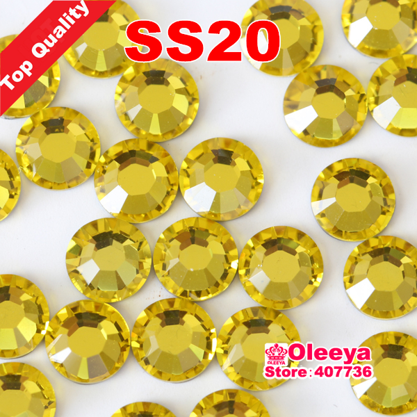 Top Quality Luxury Hot Fix Rhinestone,More Shiny Lemon/Citrine ss20 hotfix transfer stones for clothes ,With glue Y0610(China (Mainland))