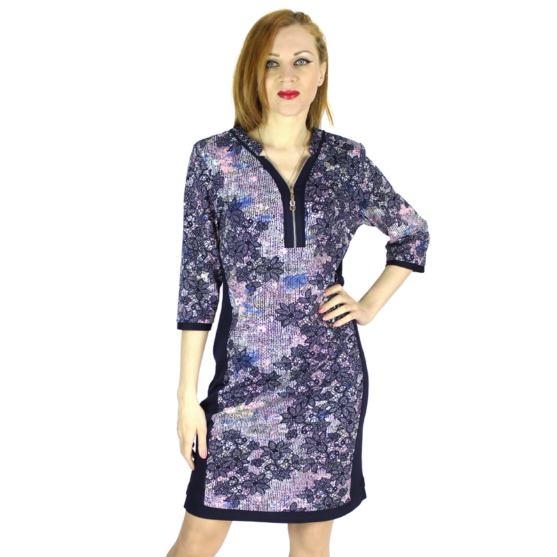 Plus Size 5xl Women Dress Spring-Autumn Dress 2015 V-neck Three-Quarters Sleeve Printing Flower Vestidos 4 Colors 7-2240(China (Mainland))