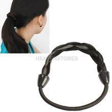 Wig Plaits Elastic Braid Rope Ponytail Hair Hairpiece Band Holder Black hv3n(China (Mainland))