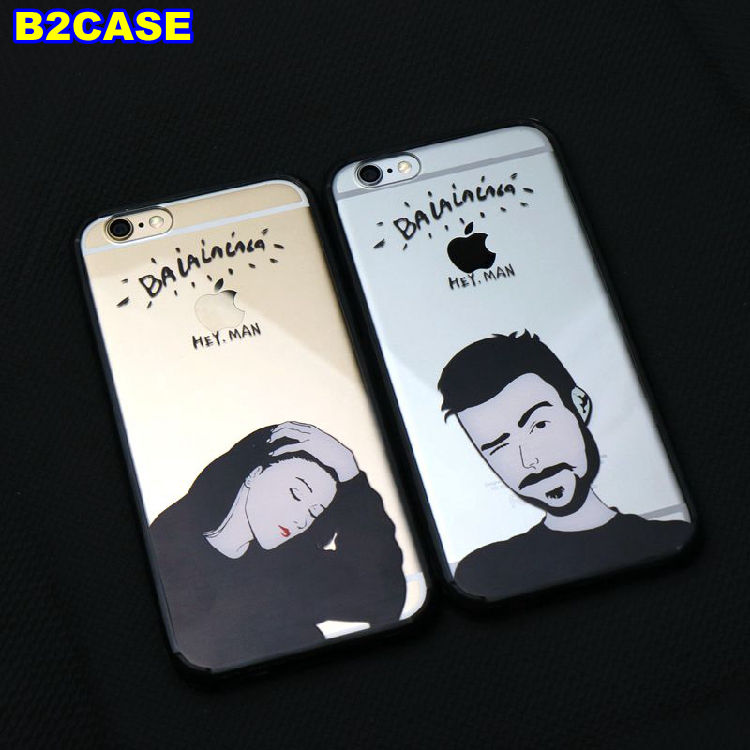 B2CASE For apple iPhone 5 5S SE 6 6S 4.7 plus 5.5 Fashion trend girl soft tpu edge PC back cover couple case for mobile phones(China (Mainland))