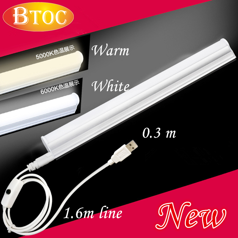 Portable lamp tube LED Portable Lanterns 0.3m USB connector Switch Magnet adsorption bar Outdoor camping lamp T5 warm white lamp(China (Mainland))
