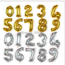 1pcs 16'' Helium Balloons  Foil Balloon Silver/Gold Number Balloons Birthday New Year Party Wedding Decoration Balloon(China (Mainland))