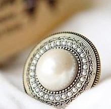 Buy Big Simulated Pearl Round ring women bling jewelry antique silver plated crystal wholesale dropshipping Rings Wholesale Price for $1.28 in AliExpress store