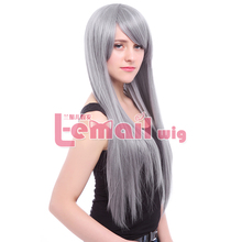 Long Silver Grey Anime Straight  Wigs Synthetic Cosplay Party Hairs(China (Mainland))