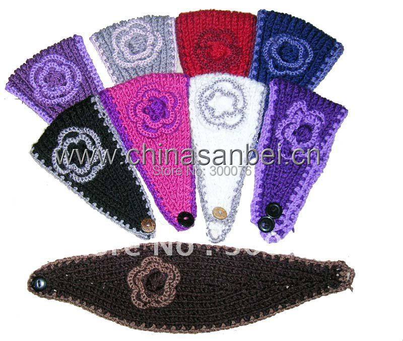 3D Flower Wool Handmade HeadWrap crochet Headband Ski Wrap(China (Mainland))