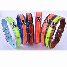 Latest Design  Personalized Bone Shaped Studded Dog Collars Fashion Reflective PU Leather Pet Collar Dog   6 Colors