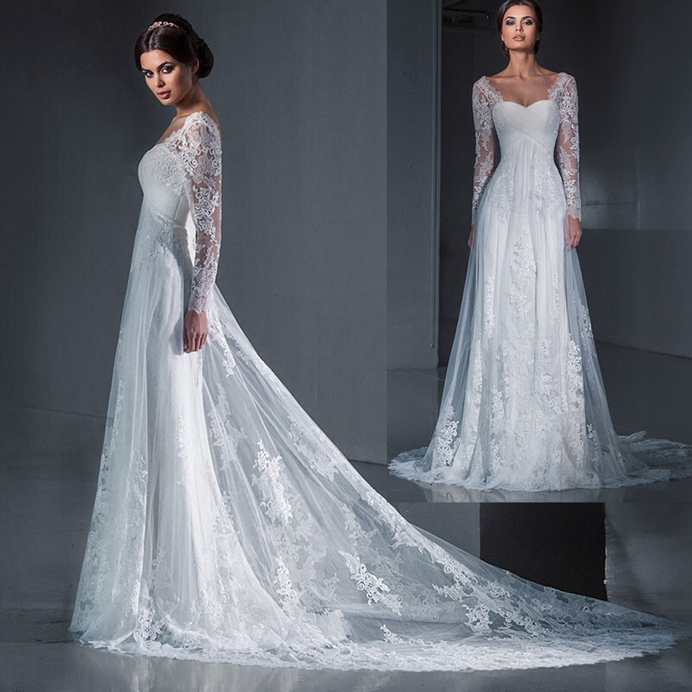 Buy best sellers bridal gowns simple lace for Long sleeve lace wedding dresses