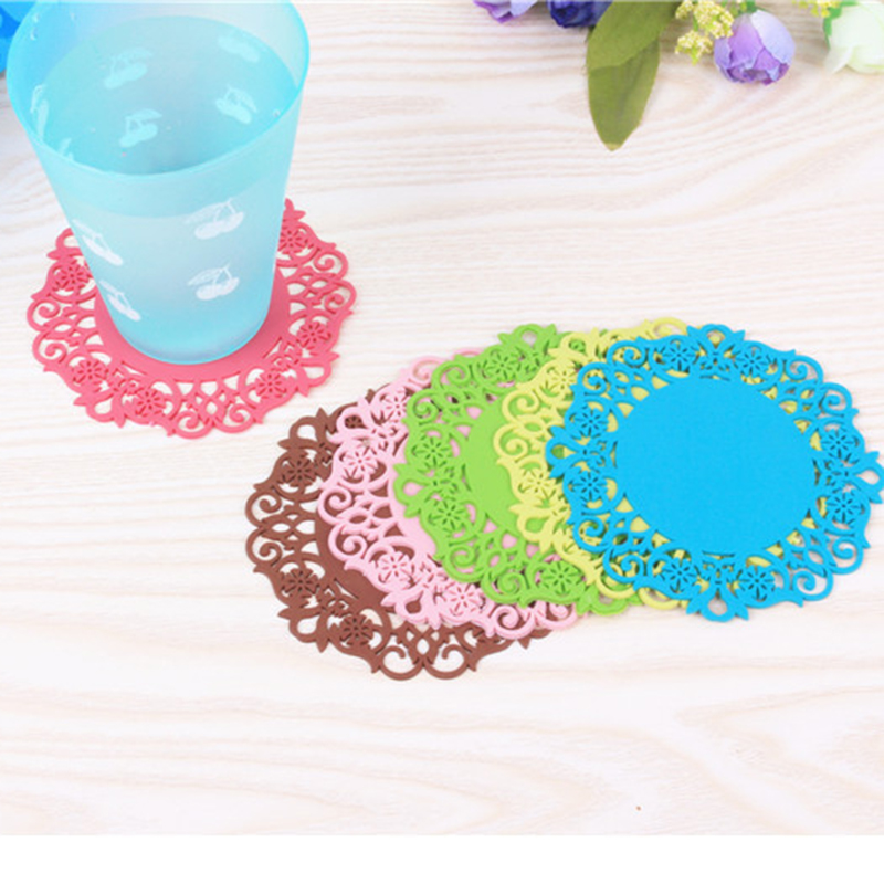 Colorful Silicone Coasters color Random Round Drink Coasters Lace Stain Resistant Placemat wholesale(China (Mainland))