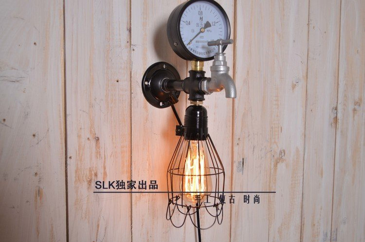 Здесь можно купить  Vintage light fixtures Industrial Pipe Metal Retro Wall Sconce Steampunk Lamp Iron plumbing pipe edison light Led night light   Свет и освещение