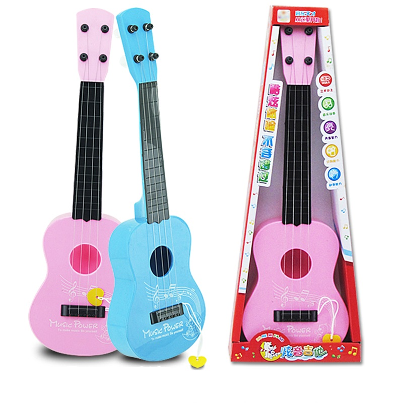 Guitar Toys 4 String for Kids Baby Children Small Musical Instrument Educational Gift Pink or Blue Color(China (Mainland))
