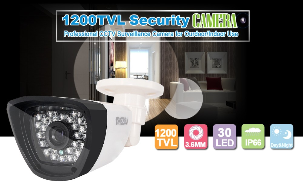 Tmezon HD 800TVL 900TVL 1200TVL Camera Security Surveillance Bullet CCTV Outdoor Waterproof IR Night Vision 30Led Up to 85ft