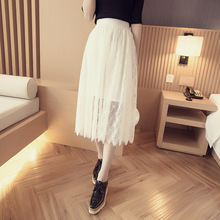 2016 summer new Korean lace skirt in high waisted skirt color gauze wholesale