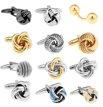 Free shipping Metal Knot Cufflinks gold color knot design hotsale copper material cufflinks whoelsale&retail