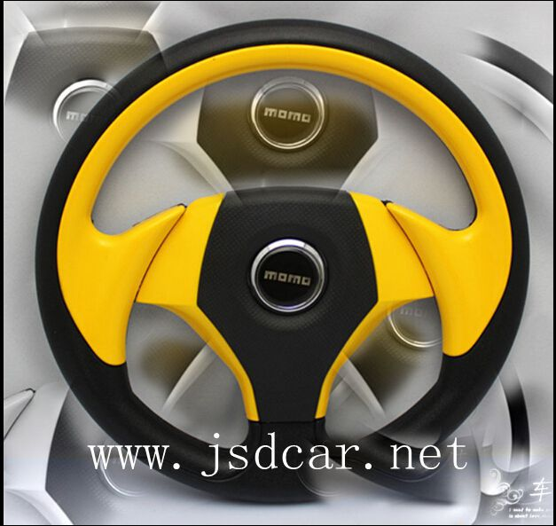 New Momo 13inch PU steering/ wheel automobile race steering wheel/ modified steering wheel Free Shipping(China (Mainland))