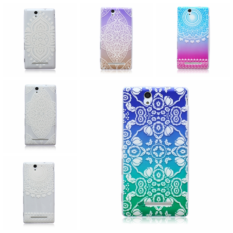 Hot 0.4mm Super Thin Transparent Clear IMD Painting Soft TPU Protector Case Cover For Sony Xperia C3(China (Mainland))