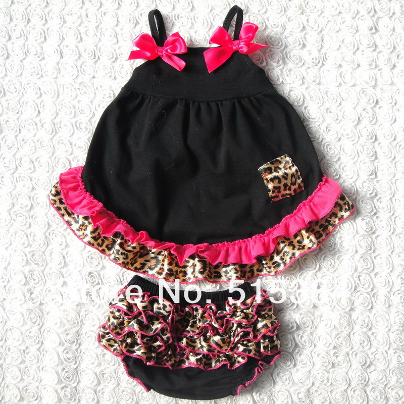 wild child cheetah cloth set with ruffle bloomer set black baby swing top sets kids out fit set 3sets/lot(China (Mainland))