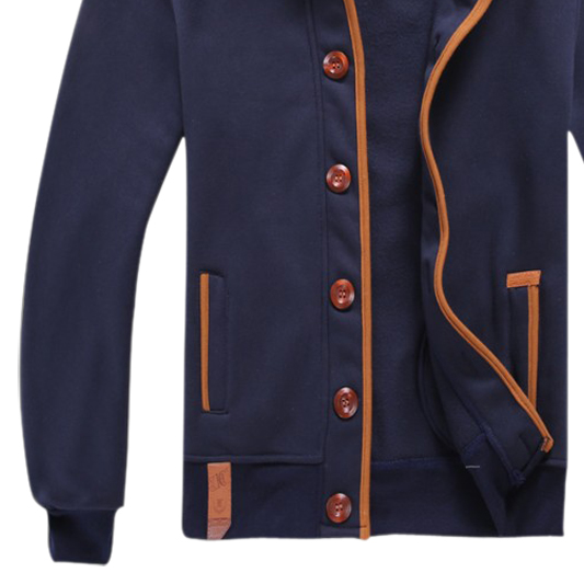 HOT Men Hoody Casual Hoodie Sweatshirt Sports Coat Cardigan Navy Blue 2XL(China (Mainland))