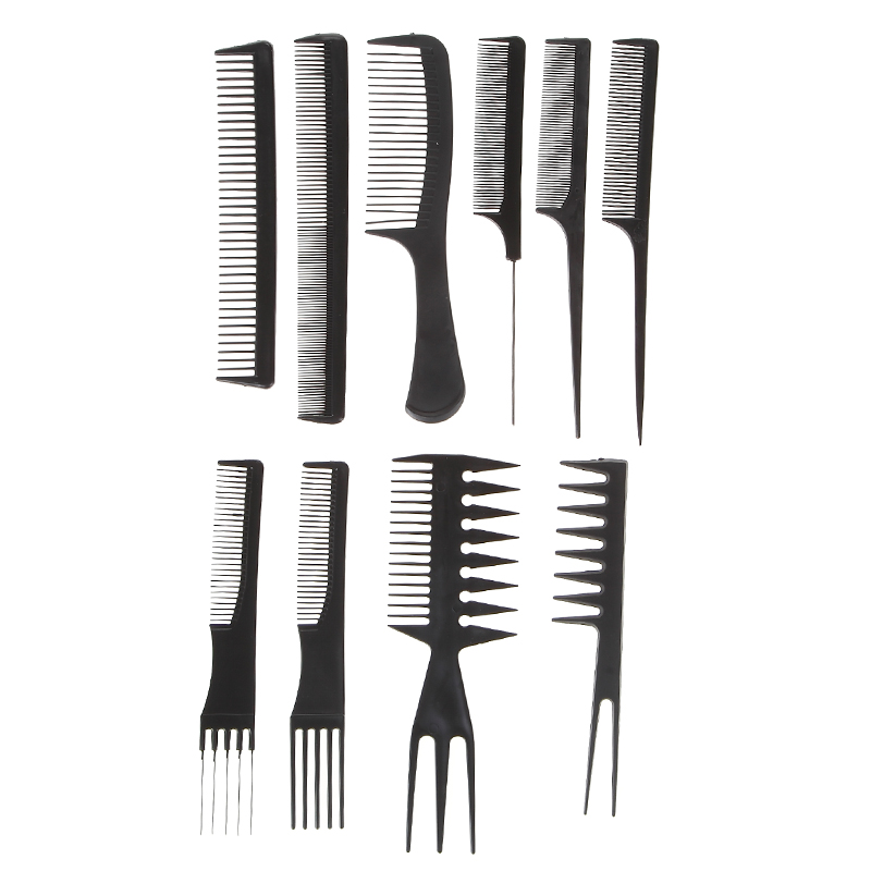 10pcs/set Professional Salon Combs Set Black Plastic Barbers Hair Styling Tools Hairdressing Salon Free Shipping(China (Mainland))