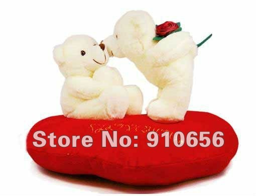 2013 Hot Wholesale 6pairs/lot Plush Stuffed Couple Kiss Bears With Rose Wedding Decoration Valentine's day Gifts Free shipping