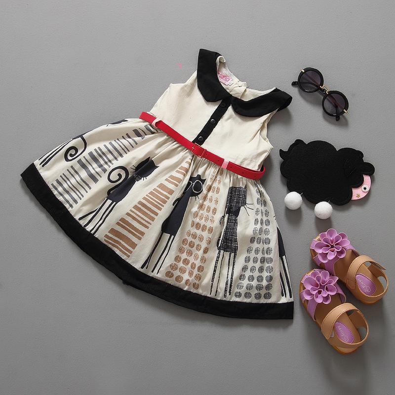 Big discount girls dress cute cat baby girls summer dress with waistband sleeveless kids clothes casual princess dresses(China (Mainland))