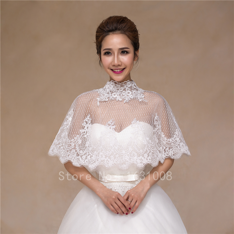 Hot 2015 New Bridal Bolero Sexy Lace Wedding Bridal Sheer