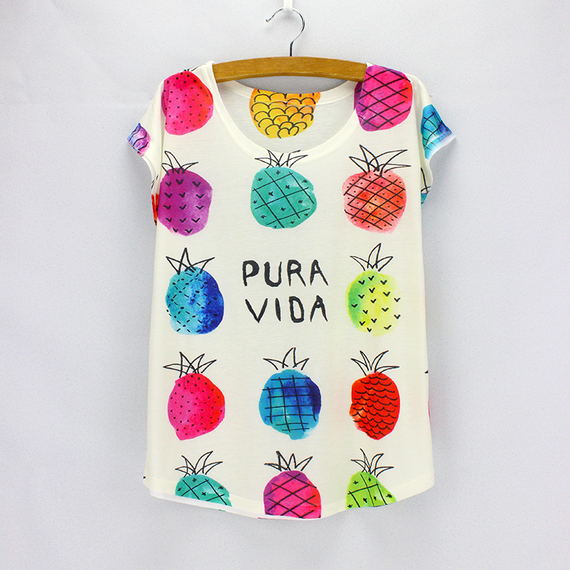 Colorful Strawberry print t-shirts women summer dresses 2016 fashion top tees for girls low price wholesale(China (Mainland))