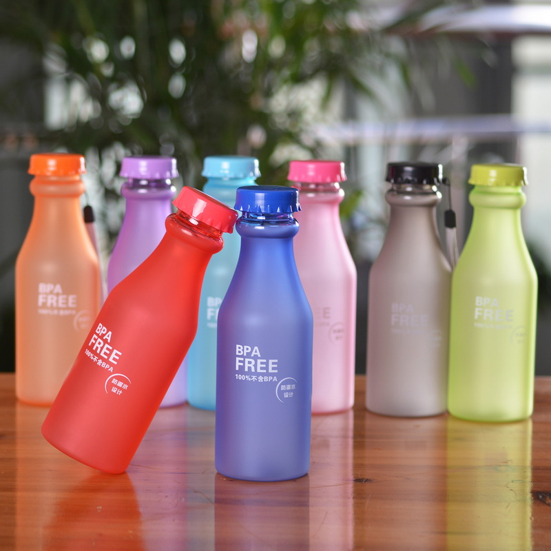 Water Glass Bottle Sport Bottle Frosted With Rope BPA Free Water Bottle Plastic Travel Bike Climbing Bottle Unbreakable 550ml(China (Mainland))