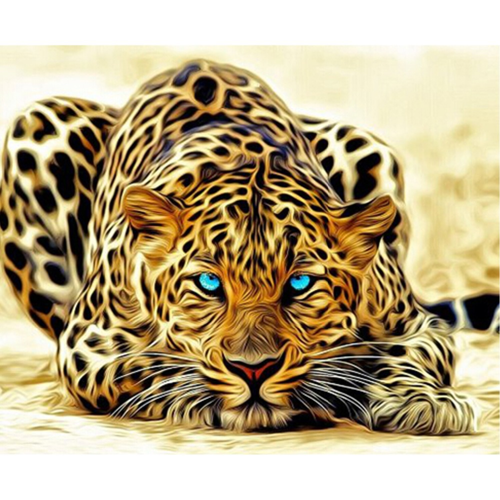 Free Shiping 5D Diamond Painting Full Square drill Home decoration mighty animal Leopard Cross Stitch Mosaic Embroidery craft(China (Mainland))