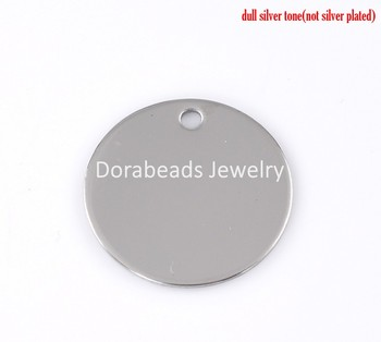 Free Shipping! Stainless Steel Charm Pendants Round Silver Tone 30mm Dia,10PCs (B22127)