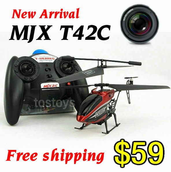 New arrival!MJX newest 3.5ch mini 3D RC heli helicopter T42C tanks with high-pixel camera,gift charger,free shipping(China (Mainland))