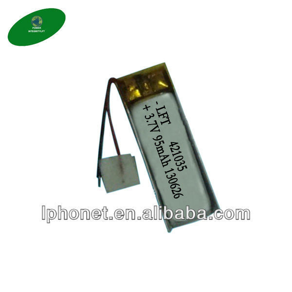 rechargeable 3.7v li ion polymer battery 421035 95mAh for Vacuum cleaner(China (Mainland))