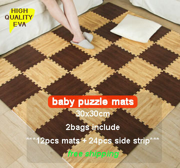High Quality Baby Floor Mat Kids Environmental Tasteless Eva Foam Mat puzzle foam Eva pad floor mat 30x30cm(12pc) with sidestrip(China (Mainland))