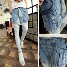 2016 Cool Blue White ripped skinny jeans men Rock punk harem pants