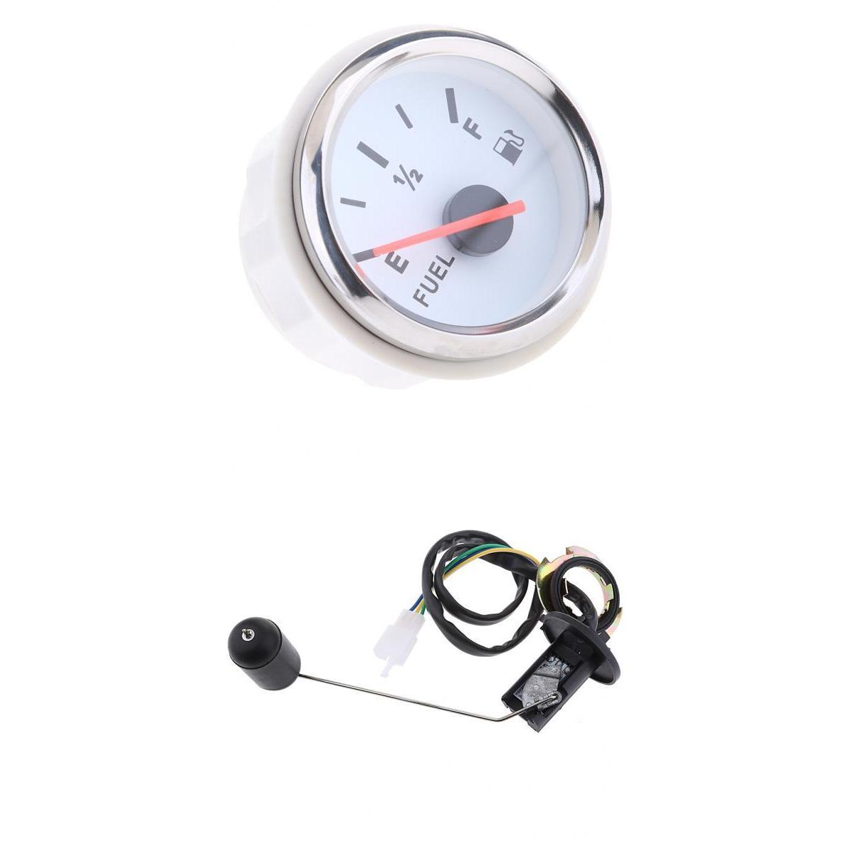 Universal 2' 12V Car Fuel Level Gauge Meter E-1/2-F Pointer + Fuel Sensor jauge de carburant Indicador de nivel de combustible