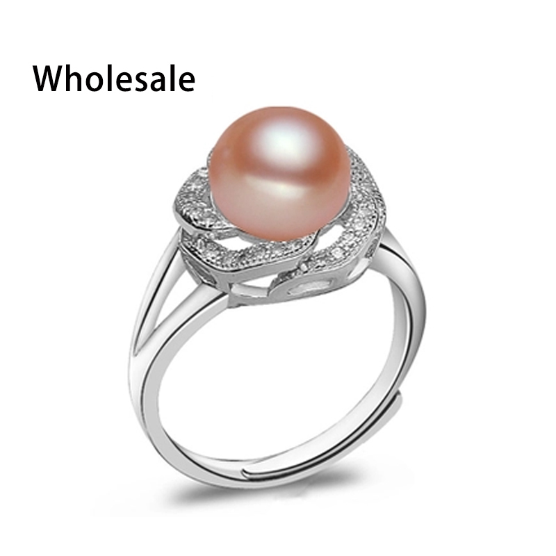 Big Discount 925 sterling silver jewelry on sale big natural pearl rings for women stone ring adjustable white/pink/purple pearl(China (Mainland))