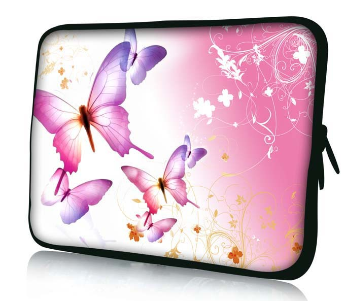 "17"" Pink Butterfly Soft Neoprene Laptop Netbook Sleeve Bag Case Pouch Cover For 17.3"" 17.4"" HP Dell Apple Sony Acer Toshiba ASUS(China (Mainland))"